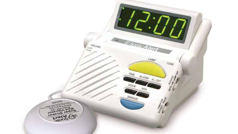 Product shot of the Sonic Alert Boom Alarm Clock with Bed Shaker.