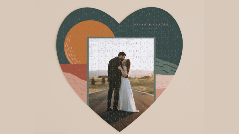 wedding couple photo on a heart shaped puzzle