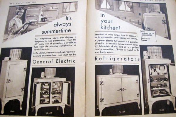 1930 Silent Hostess Magazine advertising GE Monitor Top fridge: