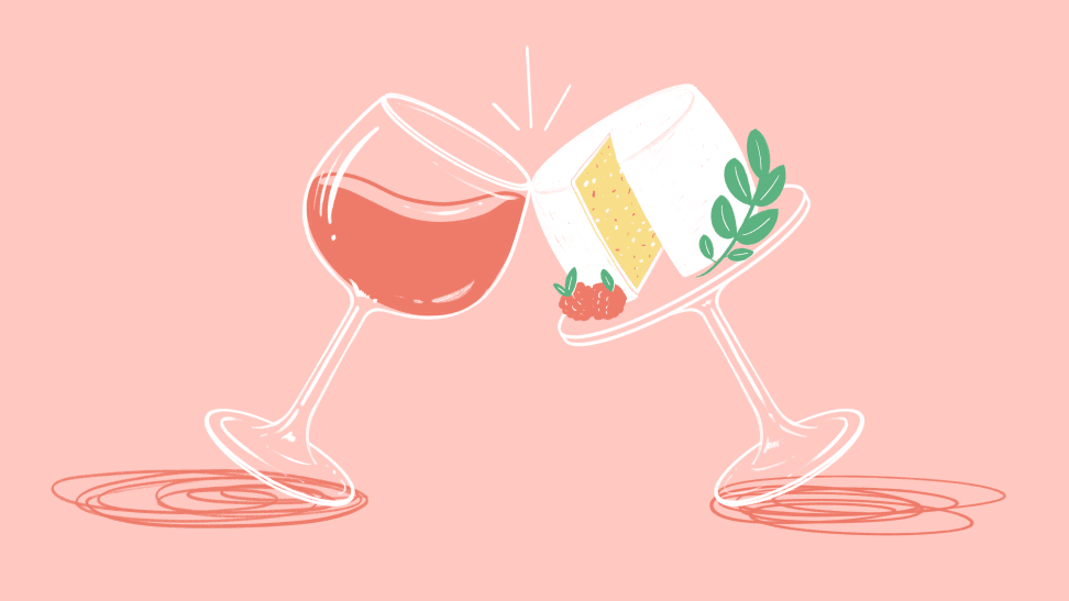 An illustration of a glass of rosé leaning slightly to 'cheers' with a wheel of cheese on a pedestal.