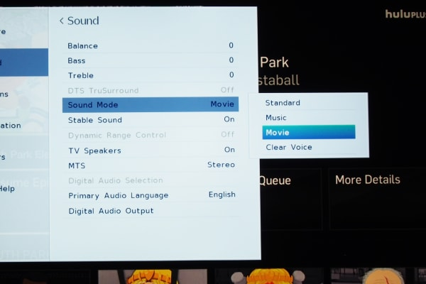 The L1400U's Sound menu lets you change sound modes, treble, and bass.