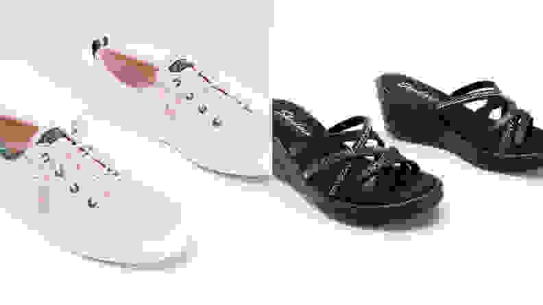 pink sneakers and black sandals on grey background