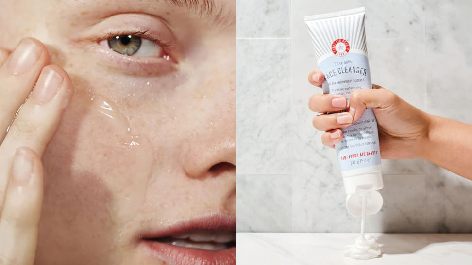 On the left: A closeup of the right side of a person's face as they stare into the camera and glide the Glossier Milky Jelly Cleanser's clear formula on their fair skin. On the right: A hand squeezes a white formula out of the First Aid Beauty Pure Skin Facial Cleanser onto a marble countertop.