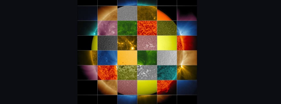 A tiled composite image of the sun depicting multiple wavelengths of light.