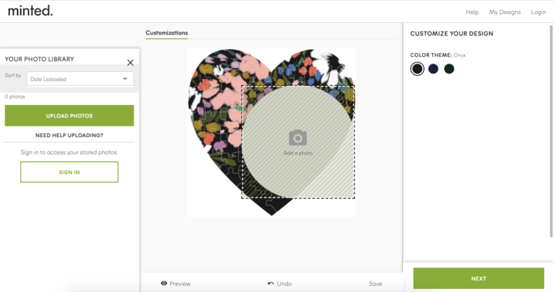 Screenshot of how to upload photo on Minted