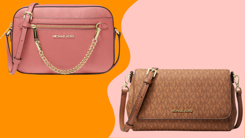 Two crossbody bags against a colorful background.