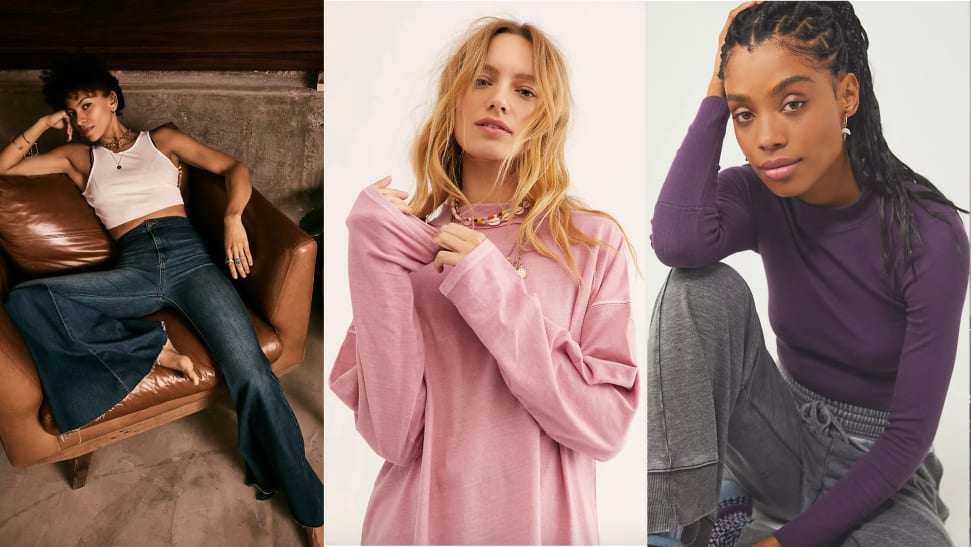 Three images of models wearing jeans, slouchy shirts, and mockneck shirts.