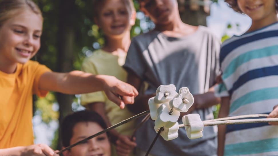 Kids roasting marshmallows at summer camp