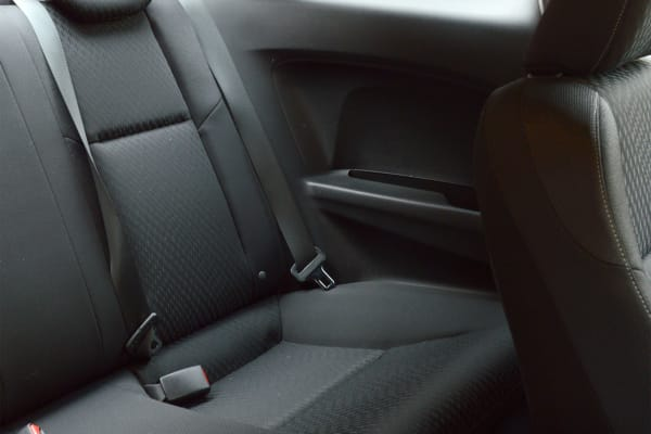 A relatively roomy back seat for a two-door on the 2014 Honda Civic Coupe.