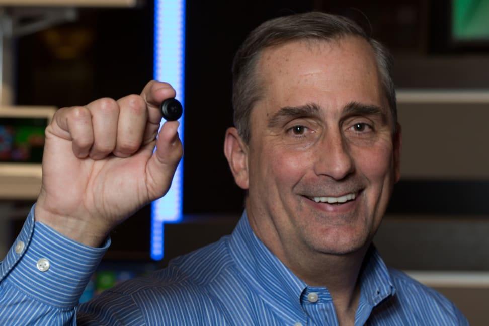 Intel CEO Brain Krzanich holding the Intel Curie