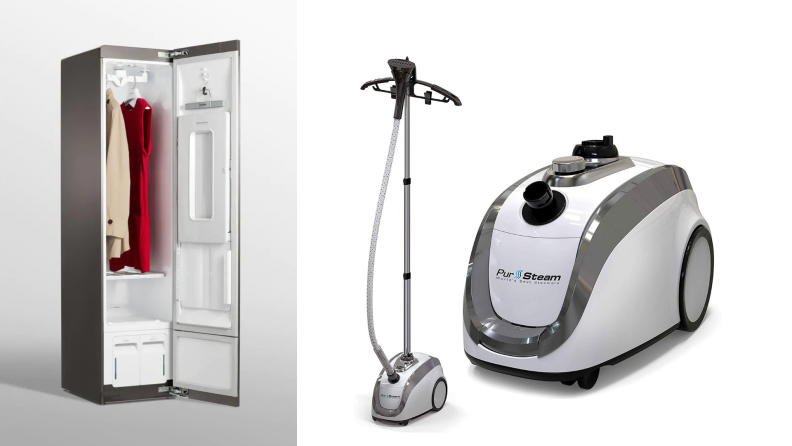 On the left, the LG Styler steamer closet. On the right, a Pursteam clothing steamer.