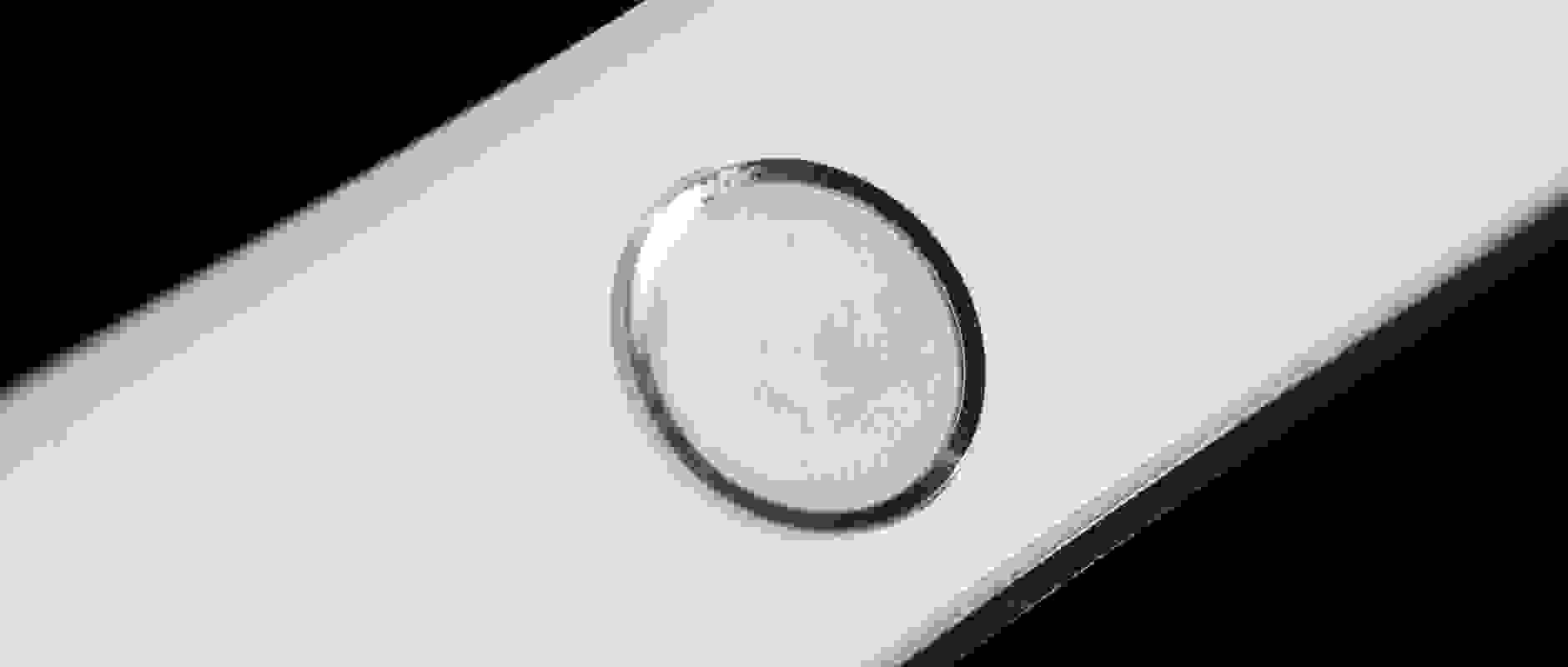 A photo of the Apple iPad mini 3's Touch ID sensor.