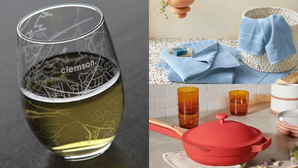 An etched glass, a set of towels, an Always Pan