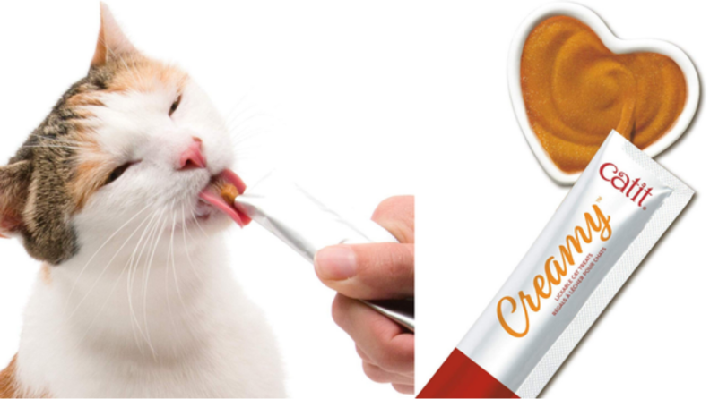An image of a cat licking at a cat treat alongside a closeup of the cat treat tube.