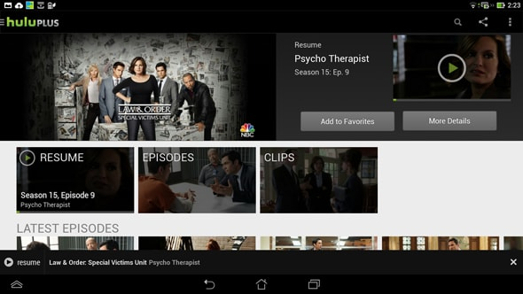 Videos on Hulu Plus play without any lag.