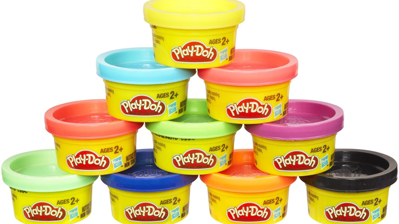 A stack of Play-Doh in different colors