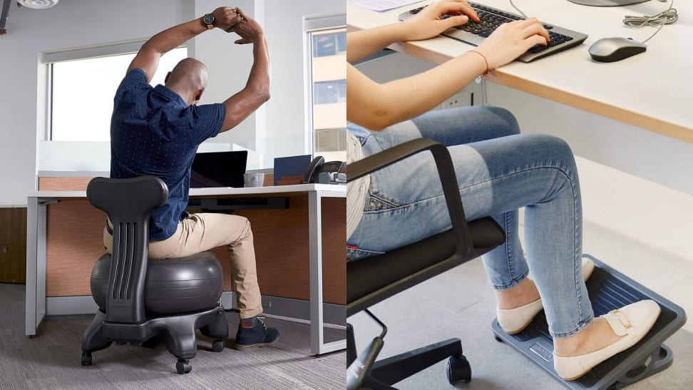 a ball chair and footrest