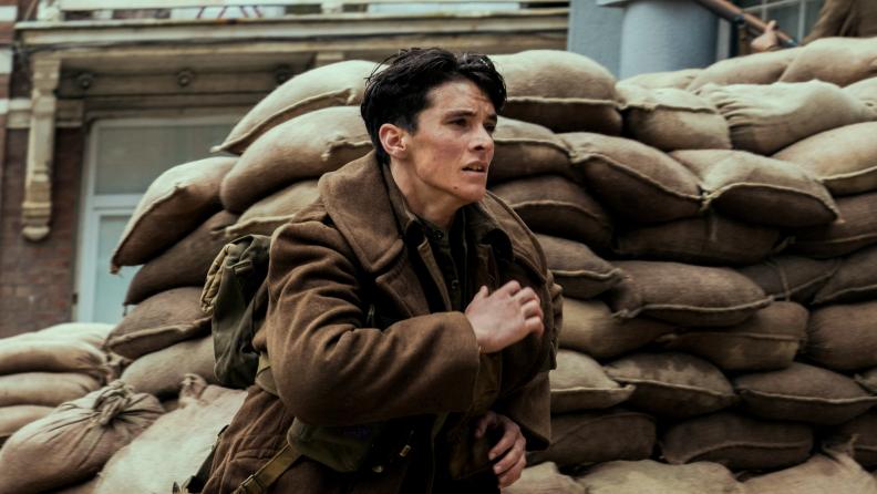 Fionn Whitehead runs for his life in Christopher Nolan's 'Dunkirk.'