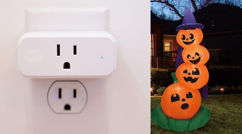 Smart plug and stacked pumpkins