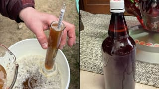 A composite of two images. On the left my dad holds a graduated cylinder, checking our wort for its specific gravity. On the right, our finished product: bottled home-brewed beer.