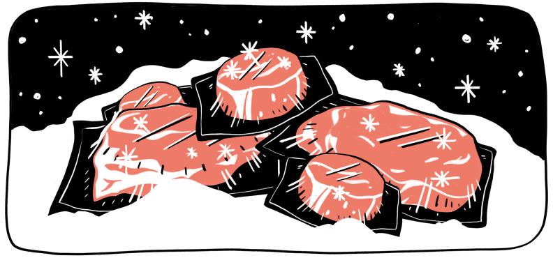An illustration of frozen meat in a freezer.