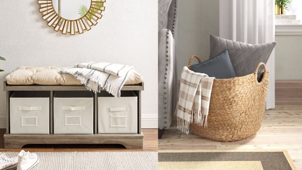 Front Entry Storage Bench and Wicker Basket