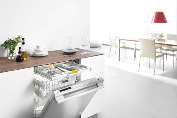 A Futura Diamond dishwasher in a modern, open kitchen setting.