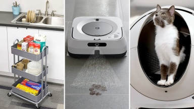(Left) A mobile storage unit inside a kitchen. (Center) A robotic floor cleaner. (Right) A cat relieves itself inside the Litter Robot.