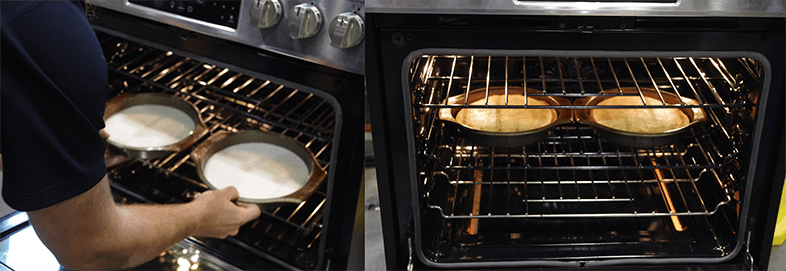 Two cakes are used in an oven bake test.