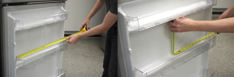 We measure the capacity of the refrigerator manually with a tape measurer.