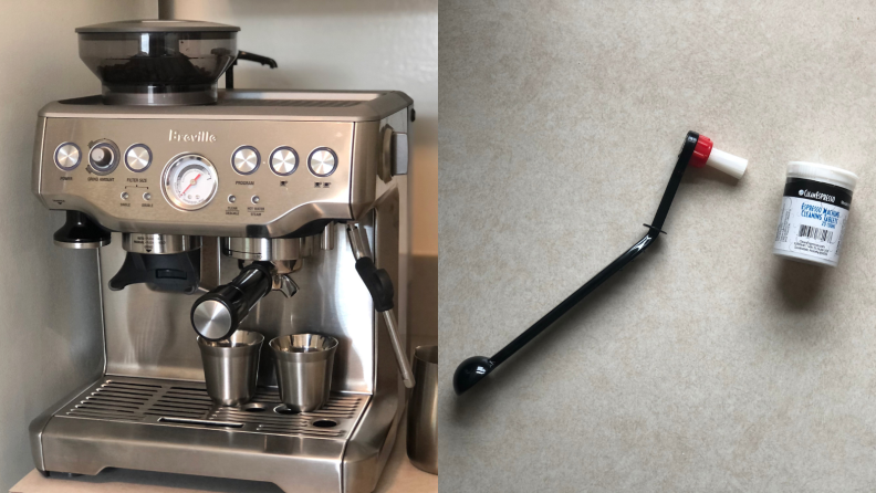 (left) a Breville espresso machine. (right) a head cleaning brush used to clean an espresso machine.