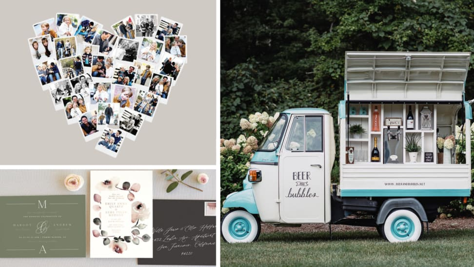 Minted photo board and invitations, mobile bar