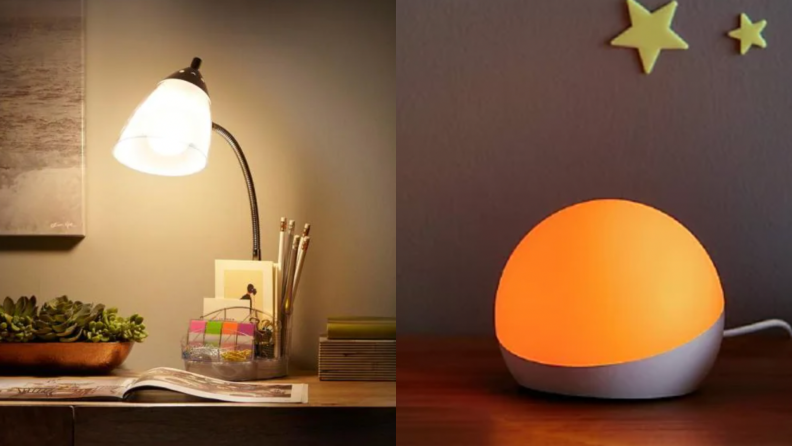 Left, a desk lamp giving off a soft glow. Right, an Amazon Echo Glow giving off an orange light in a dark room.