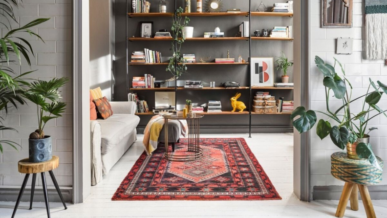Modern living room with multicolored vintage area rug.