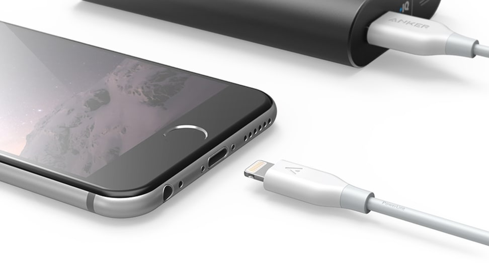 Anker Lightning cables and an Anker portable charger