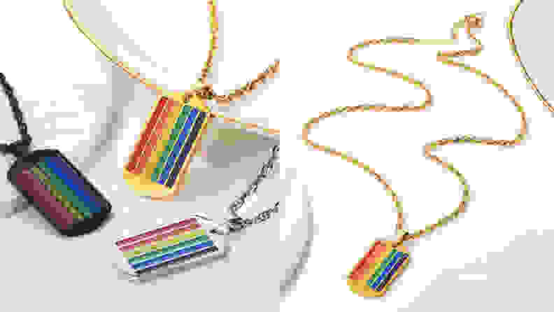 PROSTEEL Rainbow Dog Tag Necklace