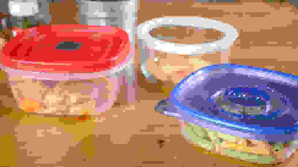 Tupperware with food stored inside