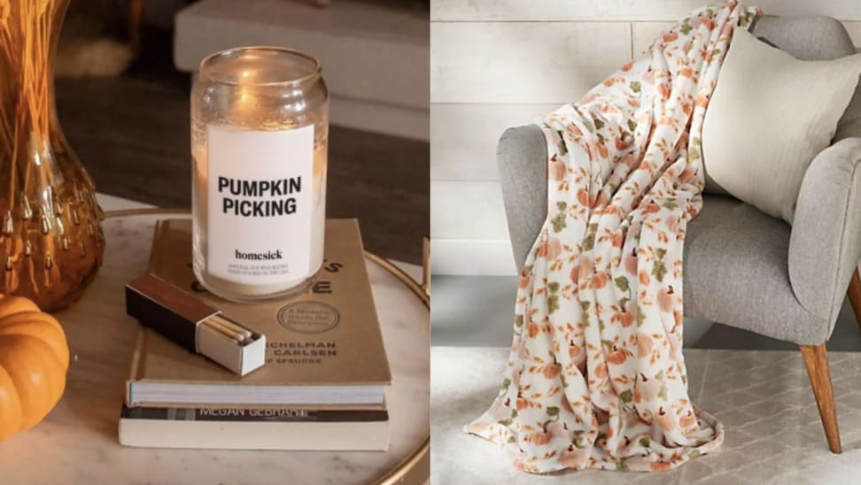Left: a pumpkin candle sitting on two books next to a matchbook, a mini pumpkin, and a vase on a marble dish; Right: pumpkin decorative throw pillow draped on a chair