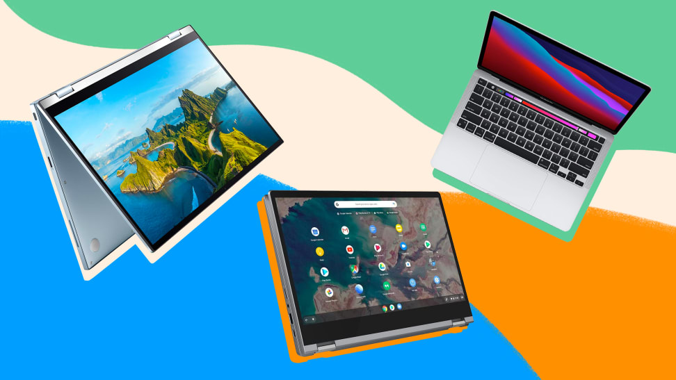 An Asus, Lenovo, and Apple laptop on a colorful background