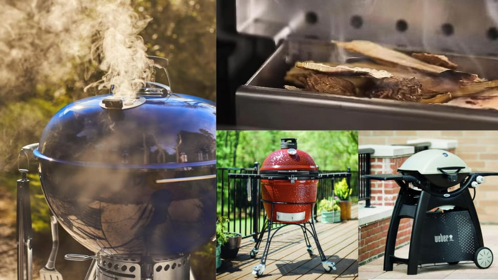 Several images of grills, including a close up of a blue grill emitting smoke.