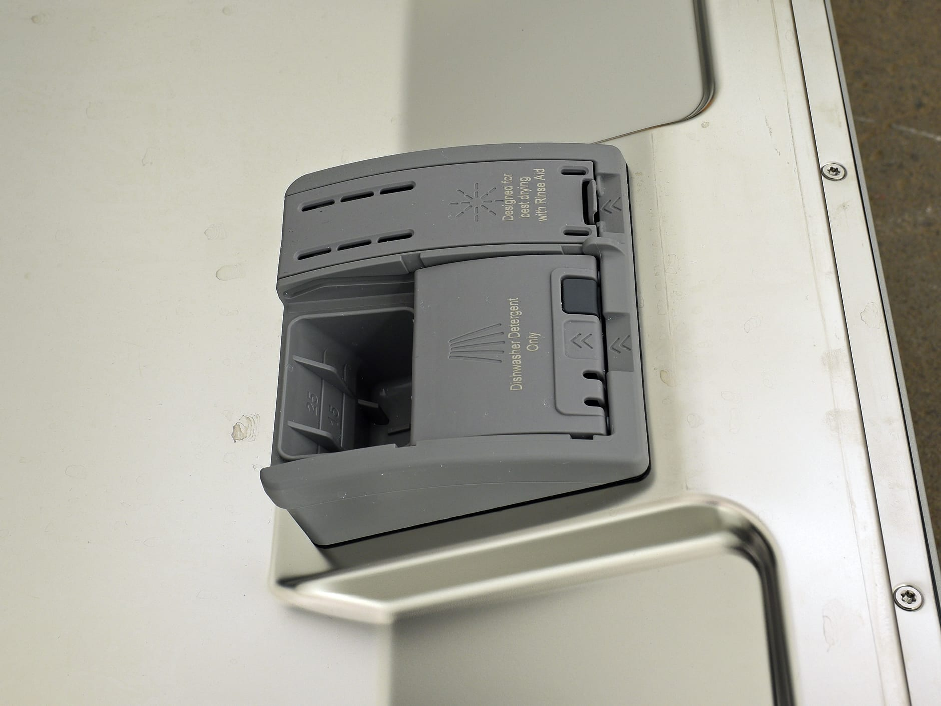 The Bosch SHP65TL5UC's detergent dispenser