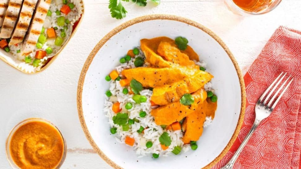 Butter chicken with basmati rice pilaf is one of many quick Sun Basket dinners.