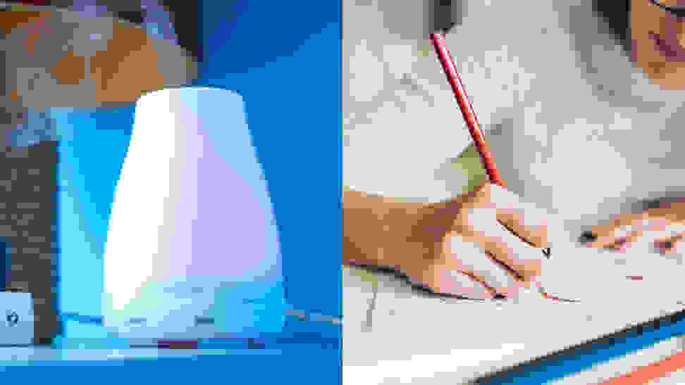 A photo of an oil diffuser next to a photo of a woman coloring.
