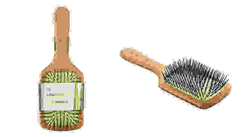 A bamboo paddle brush from The Body Shop.
