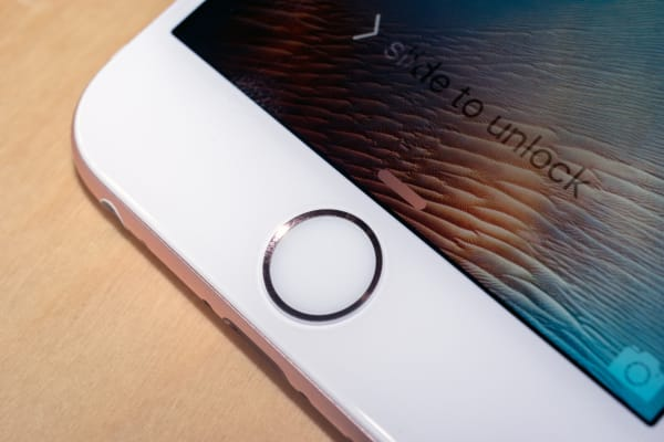 The home button/fingerprint sensor on the iPhone 6s