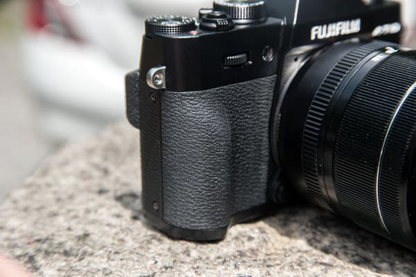 The X-T10's grip isn't the most robust, but it is sufficient for the size of the camera.
