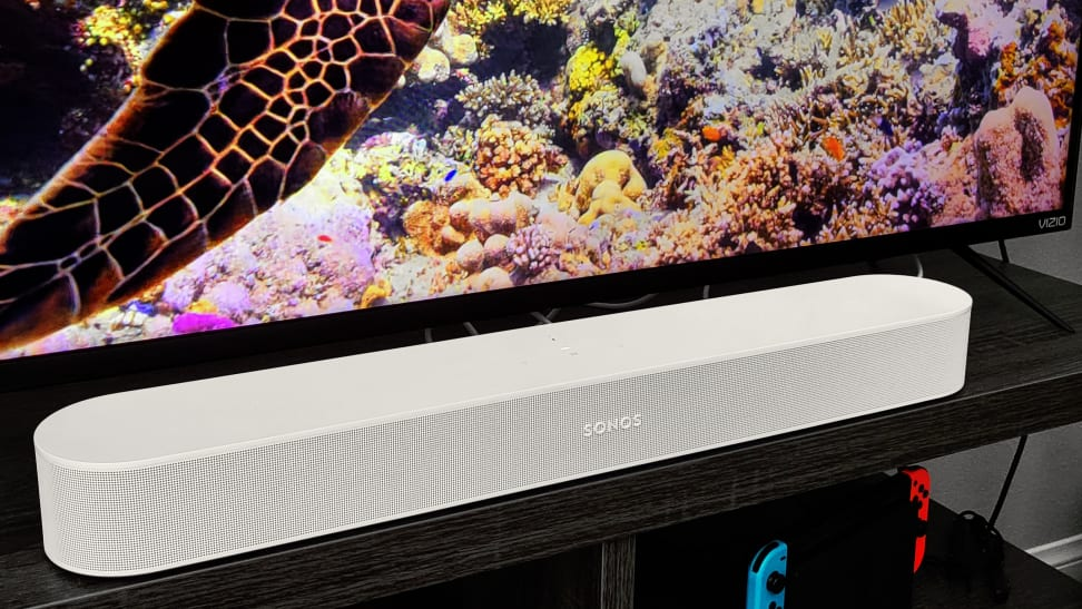 The Sonos Beam Gen 2, sitting in front of a TV