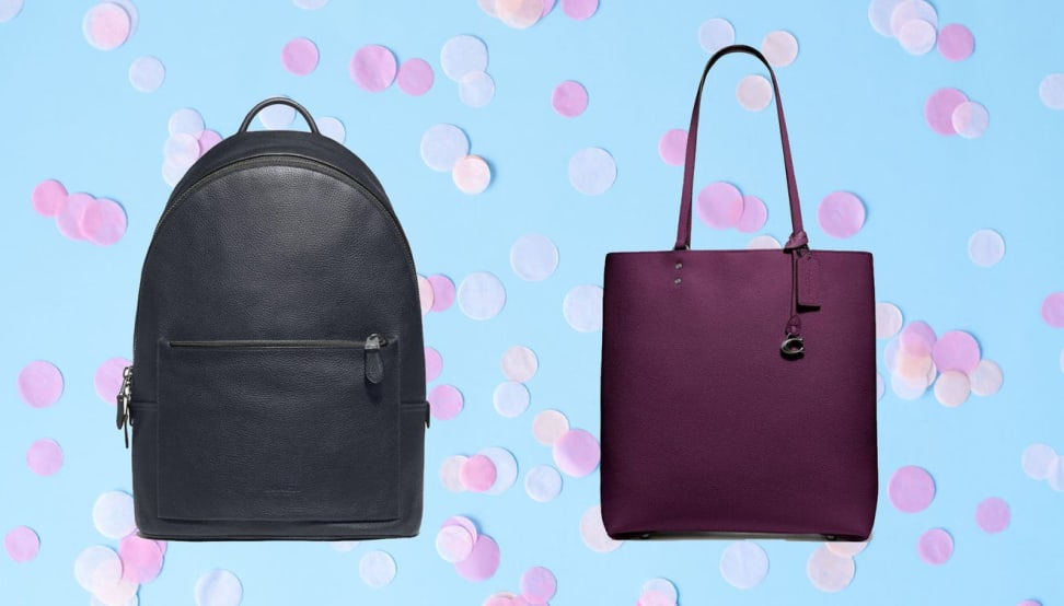A small black backpack and a purple purse against a light blue background with confetti