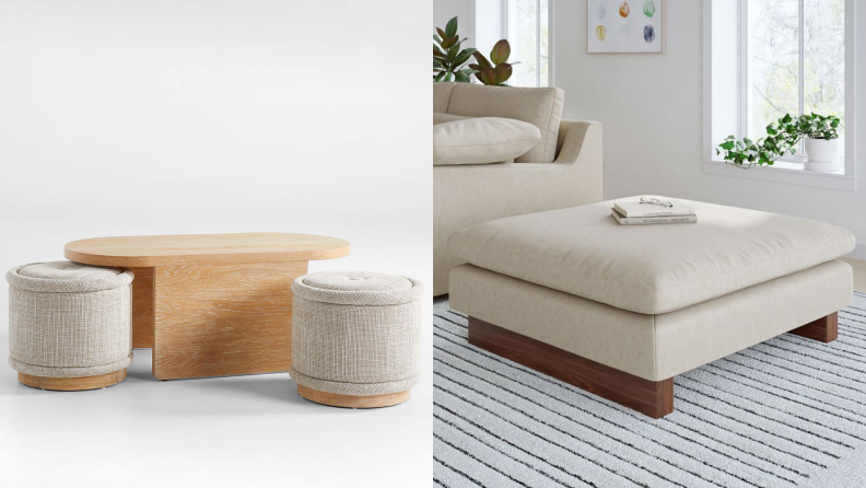 On left, wooden table with two circular seats. On right, sand colored square ottoman.