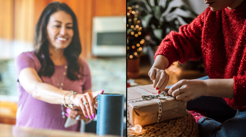 Woman with Amazon Echo and person wrapping gift